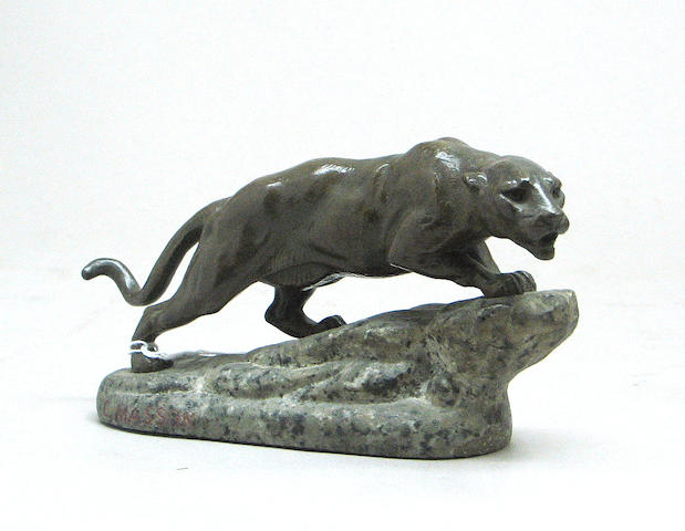"A bronze sculpture of a ""Panther on a Granit Crag,"" Clovis-Edmond Masson"