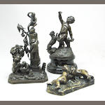 An assembeld group of three bronzes