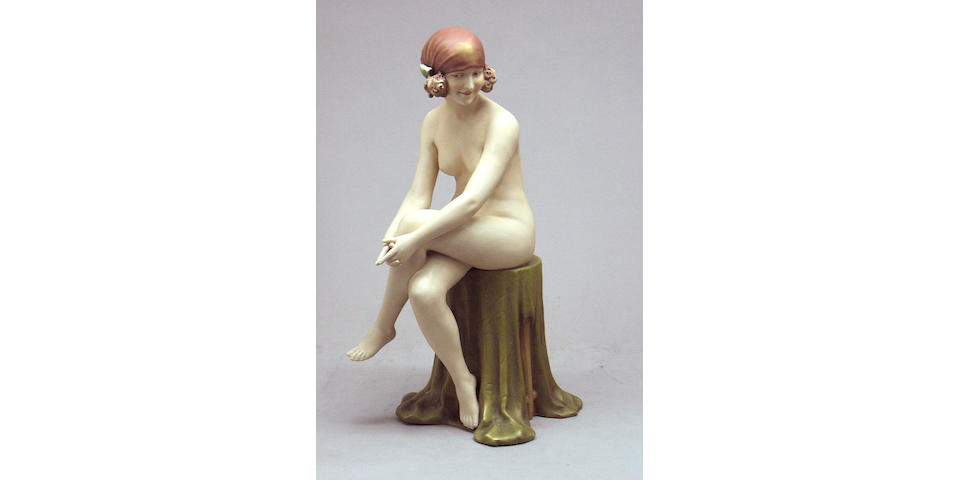 A Royal Dux porcelain figure of a female nude