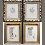 Two pairs of French framed prints and a Neoclassical style painted and parcel gilt wood portrait medallion