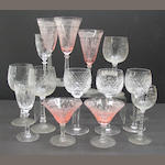 An assembled grouping of American brilliant cut glass and various stemware