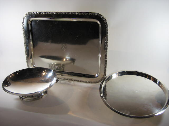 Three silver-plated serving articles