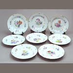 A group of eight Meissen porcelain plates (see desp. on 7433454.102)