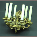 A small Regence style gilt bronze six light chandelier