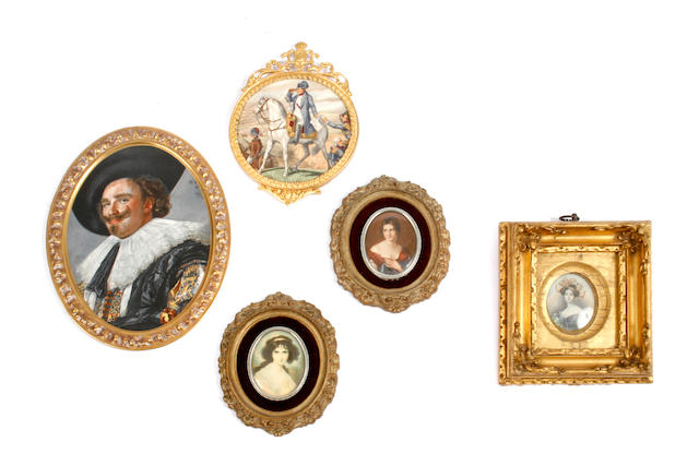 A group of five miniature framed portraits