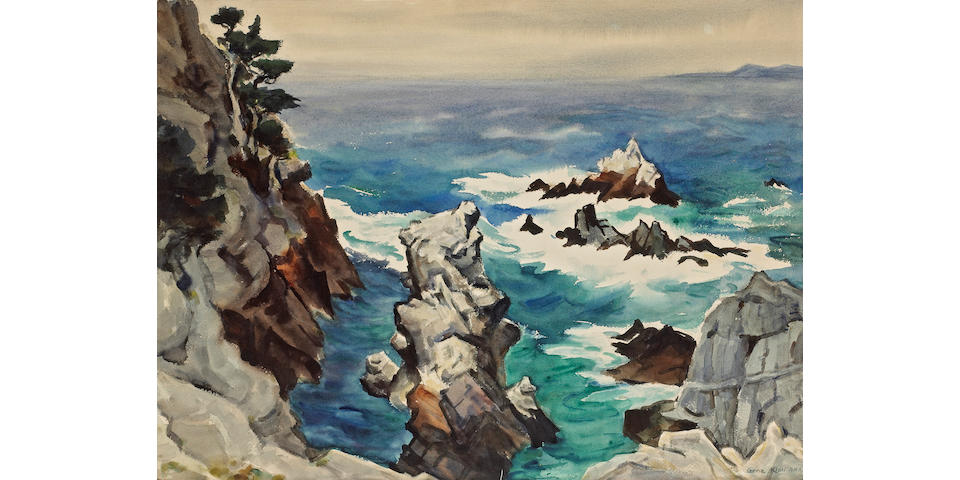 Gene Kloss (American, 1903-1996) North Shore of Point Lobos 21 x 28 1/2in