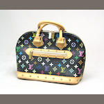 A black Louis Vuitton Monogram Multicolore Alma bag