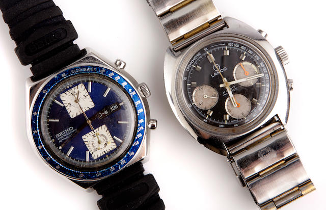 A collection of nine sports wristwatches