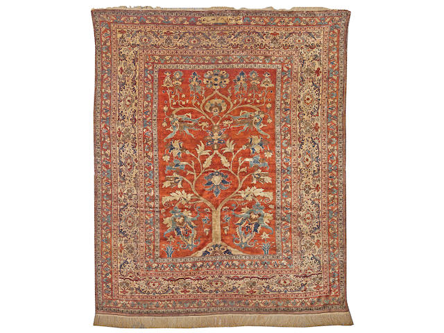 A fine Heriz silk rug Northwest Persia, size approximately 5ft. 3in. x 6ft. 6in.