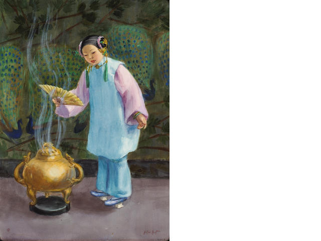Esther Anna Hunt (American, 1875-1951) Chinese Girl 22 3/4 x 16 1/2in