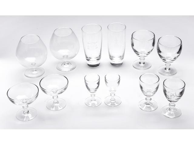 A Steuben clear glass stemware service