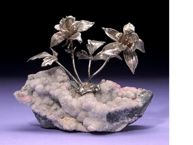 Silver Flower Cluster on Quartz and Rhodochrosite Specimen