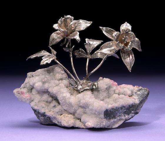 Silver Flower Cluster on Quartz and Rhodochrosite Specimen