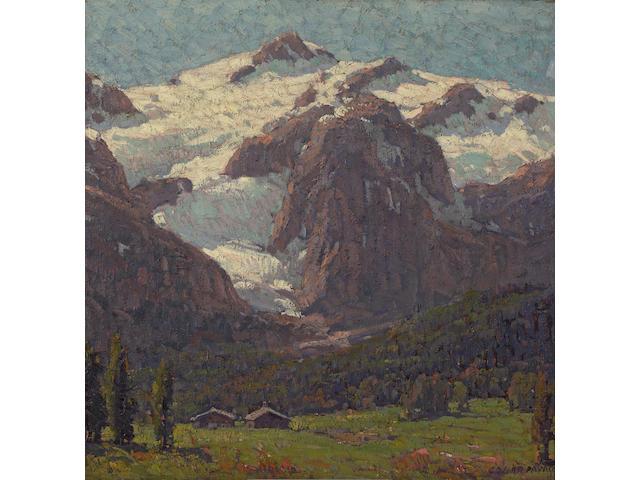 Edgar Payne (1883-1947) Cabins Beneath an Alpine Glacier 29 x 29in