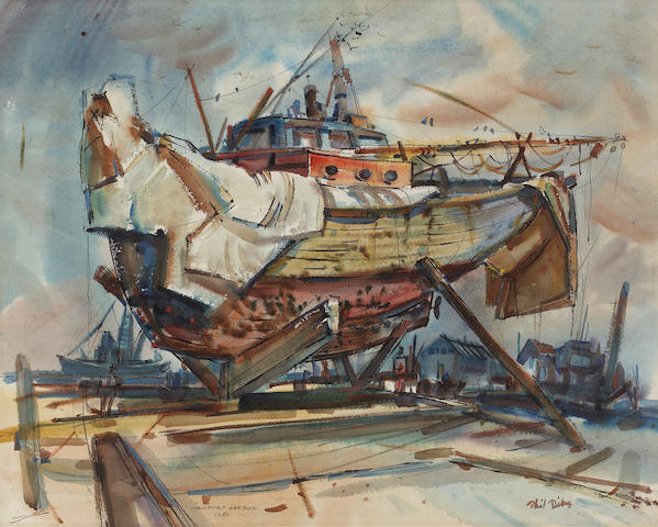 Phil Latimer Dike (American, 1906-1990) The Monarch, Portrait of a Fishing Boat, Newport Harbor, 1950 19 1/2 x 24in