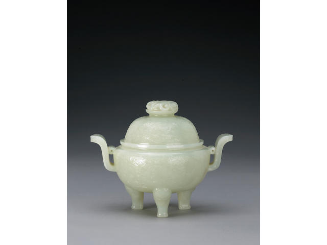 A white nephrite tripod covered censer 18th/19th Century