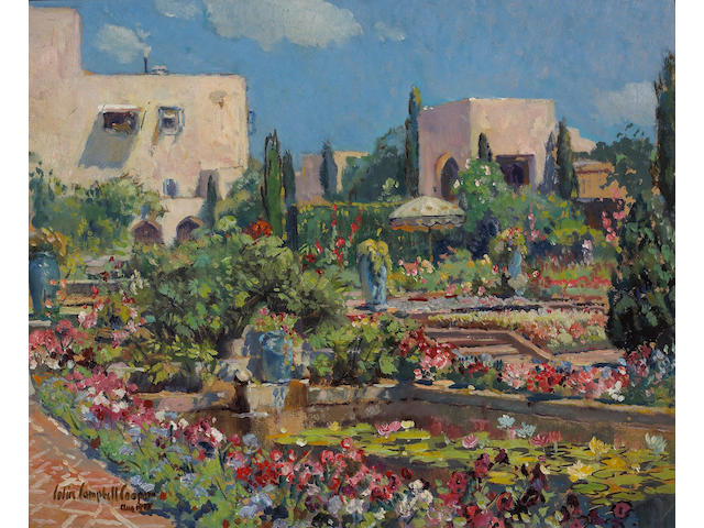 Colin Campbell Cooper (American, 1856-1937) The Terrace, Samarkand Hotel, Santa Barbara, 1928 16 x 20in
