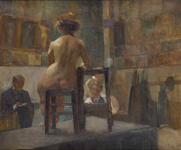 Hovsep Pushman (American, 1877-1966) The Sketch Class 18 x 21 3/4in