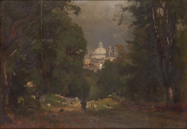 George Inness (American, 1825-1894) Albano, Italy c. 1872 9 1/2 x 13 3/8in