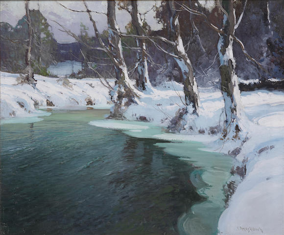 George Ames Aldrich (American, 1872-1941) Winter Stream 25 x 30in