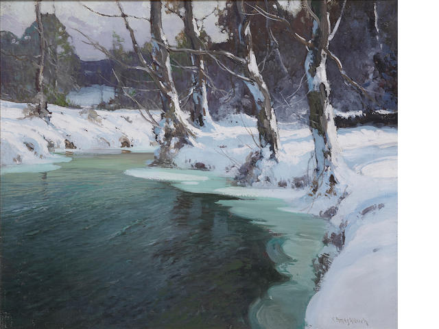 George Ames Aldrich (American, 1872-1941) Winter Stream 25 x 30in
