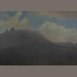 Albert Bierstadt, Mountains and Foothills, oil on paper laid down to board, 13 3/4 x 19 1/4 in.