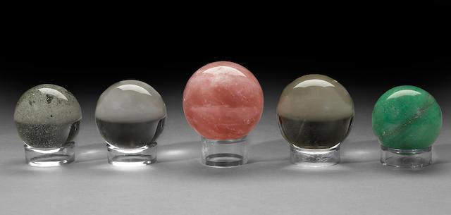 Group of five quartz spheres