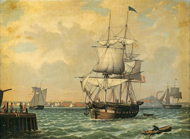 Follower of Fitz Henry Lane (American, 1804-1865) Shipping in a harbor, thought to be New York, ca. 1860 19 1/2 x 26 1/2in (49.5 x 67.3cm)