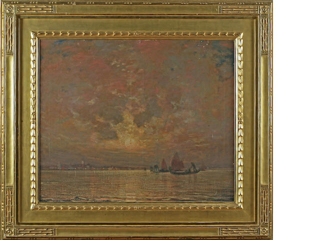 Hermann Dudley Murphy (American, 1867-1945) Moonrise on the lagoon, Venice 25 x 30in
