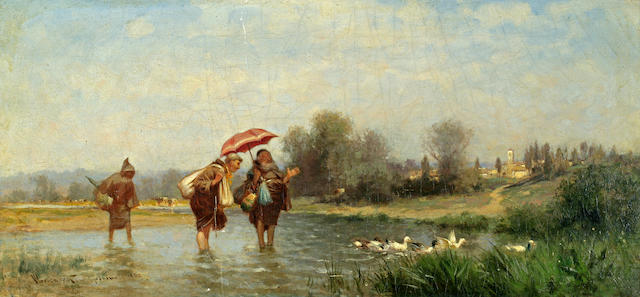 Alfred Wordsworth Thompson (American, 1840-1896) Monks and Ducks, 1880 10 1/4 x 21in
