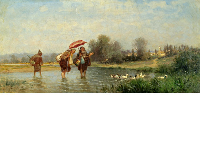 Alfred Wordsworth Thompson (American, 1840-1896) Monks and Ducks 10 1/4 x 21in