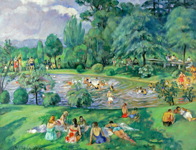 Martha Walter (American, 1875-1976) The Swimming Pool 28 1/2 x 37in