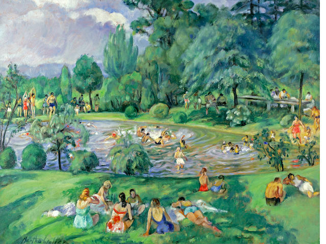 Martha Walter, The Swimming Pool, oil on canvas, 27 x 36 in.