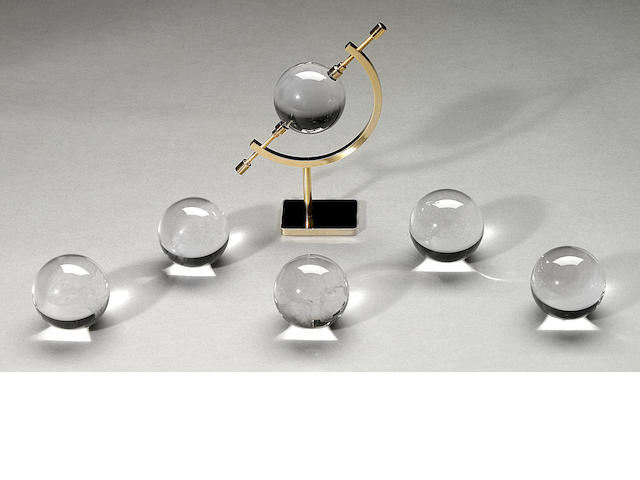 "Group of six ""optical quartz"" spheres"