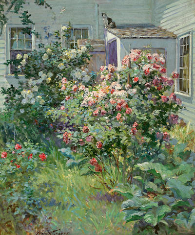 Abbott Fuller Graves (American, 1859-1936) Backyard with a Cat 24 x 20in