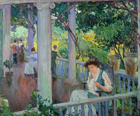 Mary Bradish Titcomb (American, 1858-1927) The Park Bench 25 1/4 x 30 1/4in