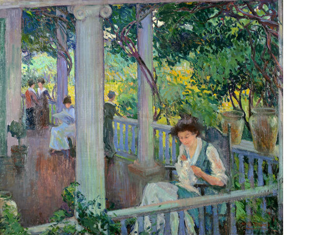 Mary Titcomb, The Park Bench, oil on canvas, 18 x 23 in.