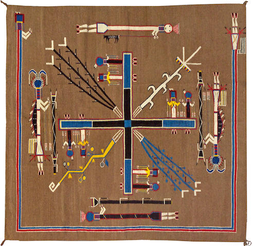 A Navajo sandpainting rug, 5ft 11in x 5ft 11in