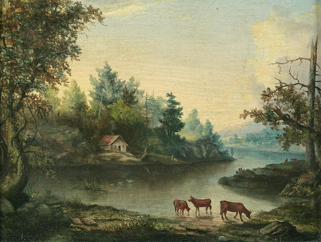 American School: Cows by a Lake, oil on panel