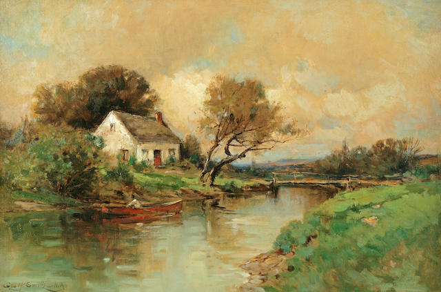 George Henry Smillie (American, 1840-1921), G. Smillie, Landscape Home by the River 16 1/8 x 24in