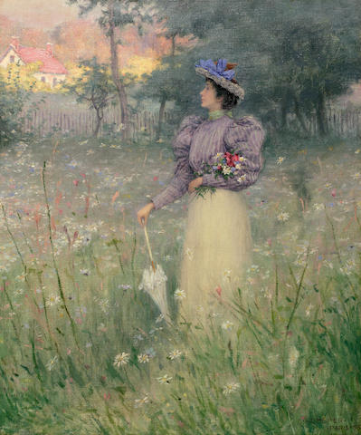 Charles Heberer (American, 1868-1951) Gathering Wildflowers, 1885 18 1/2 x 15in