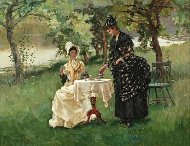Rhoda Holmes Nicholls (British/American, 1854-1938), Rhoda Holmes Nicholls, Summertime Summertime, Afternoon Tea, 1889 20 1/4 x 26in