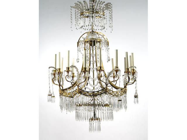 A fine Russian Neoclassical ormolu and cut-glass chandelier