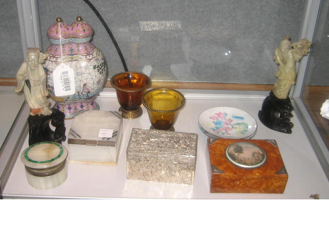 A group of ten European and Asian decorative table articles