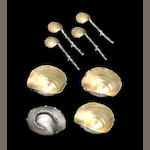 Sterling Parcel-Gilt Set of Six Shell Form Individual Salt Cellars with matching Spoons by Gorham
