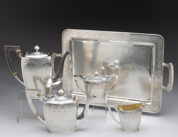 Chinese Export Silver Four Piece Tea and Coffee Set with Matching Tray