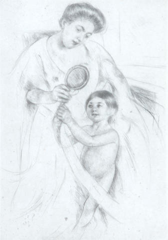 Mary Cassatt  Looking into Hand mirror  #3 (B. 202)  drypoint