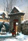 Edwin Deakin (American, 1838-1923) Snowy Gate, 1879 14 1/8 x 10in