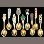 Collection of Twenty Five Danish Sterling Gilt and Enamel Christmas Spoons by A. Michelsen, Various Dates 1928-1974