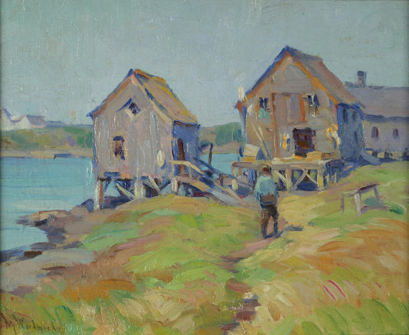 Mabel May Woodward (American, 1877-1945) Provincetown Shore Huts, 1922 7 3/4 x 9 1/2in